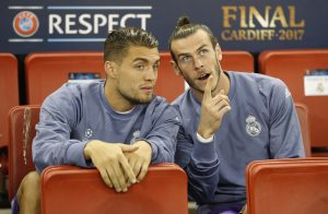 Real Madrid's Gareth Bale and Mateo Kovacic on the substitutes bench.