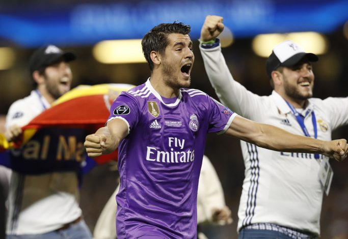 Real Madrid's Alvaro Morata celebrates after winning the UEFA Champions League.