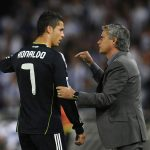 Jose Mourinho gives instructions to Cristiano Ronaldo.