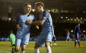 Manchester City's Phil Foden celebrates scoring his sides first goal.