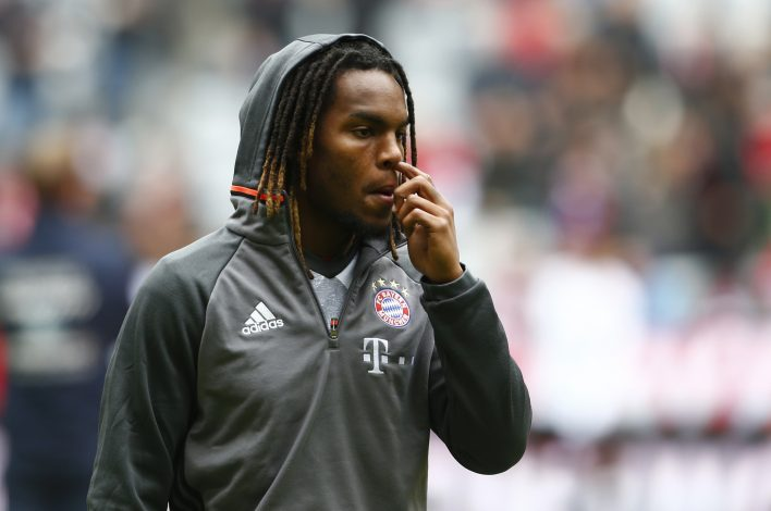 Bayern Munich's Renato Sanches warms up before the game.