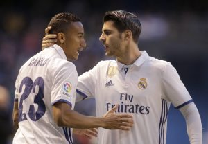 Real Madrid's Alvaro Morata (R) celebrates his goal with team mate Danilo.
