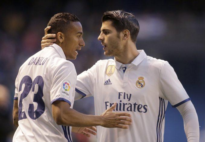 Real Madrid's Alvaro Morata (R) celebrates his goal with team mate Danilo.