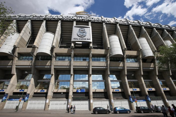 General view outside the Estadio Santiago Bernabeu before the match.