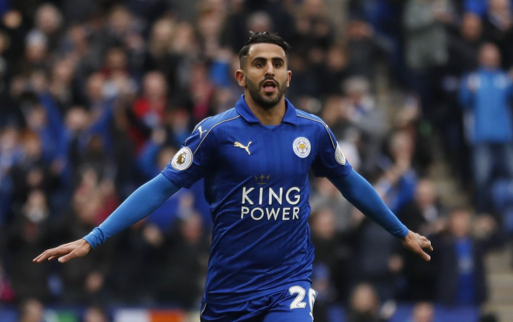 Leicester City's Riyad Mahrez celebrates scoring their second goal.