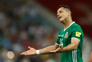 Mexico's Javier Hernandez reacts.
