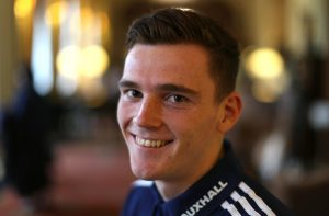Scotland's Andy Robertson poses.