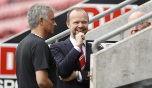 Jose Mourinho with Manchester United executive vice chairman Ed Woodward and Sir Bobby Charlton.
