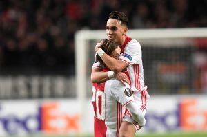 Ajax Amsterdam's Lasse Schone (L) and Abdelhak Nouri celebrate scoring.
