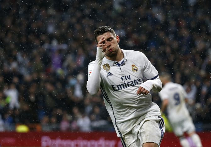 Real Madrid's Mateo Kovacic celebrates scoring a goal.