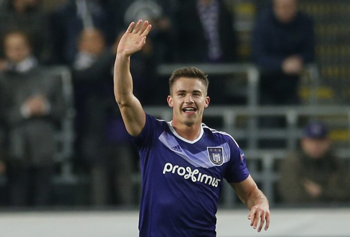 Anderlecht's Leander Dendoncker celebrates scoring their first goal.