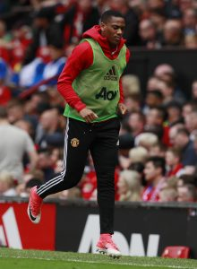 Manchester United's Anthony Martial warms up during the game.
