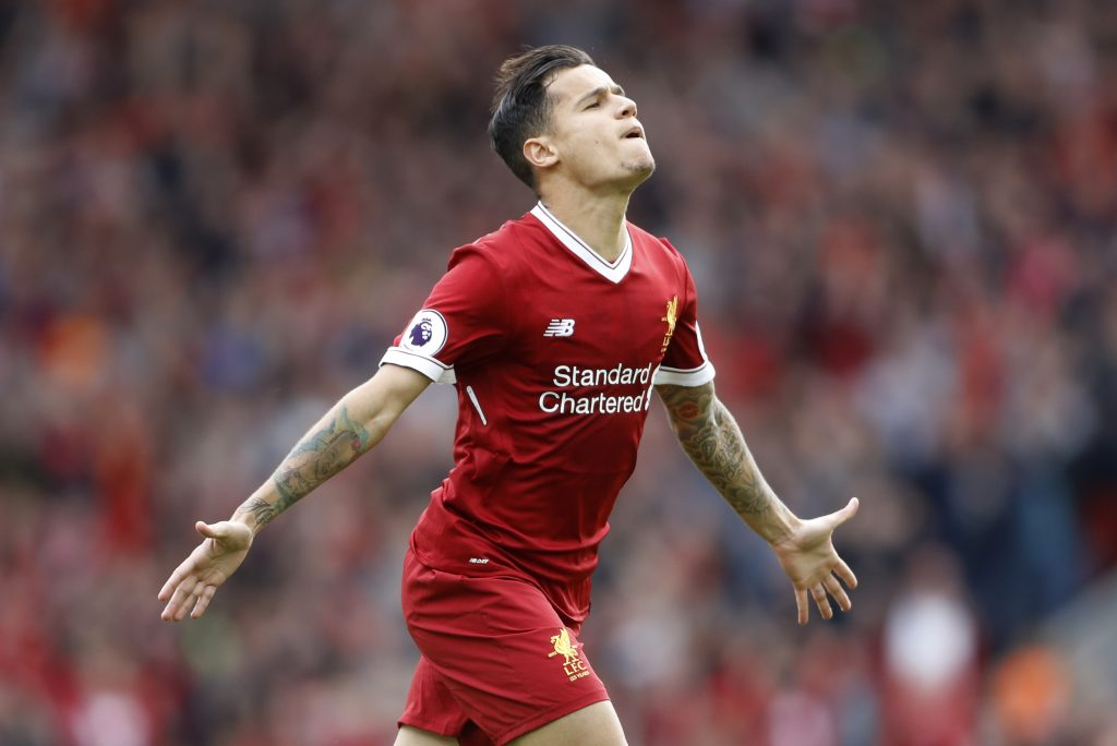 Liverpool's Philippe Coutinho celebrates scoring their second goal.