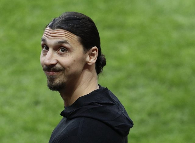 Zlatan Ibrahimovic pitchside before the match.