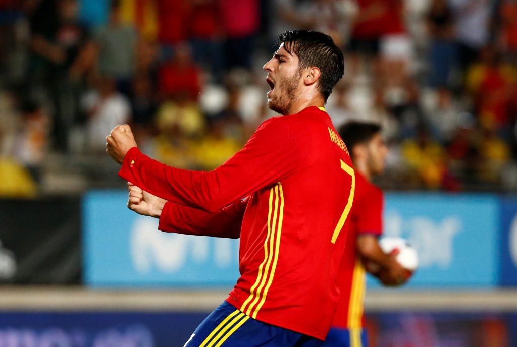 Spain's Alvaro Morata celebrates scoring their second goal.
