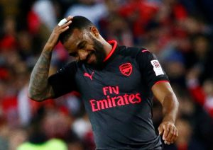 Arsenal's Alexandre Lacazette reacts.