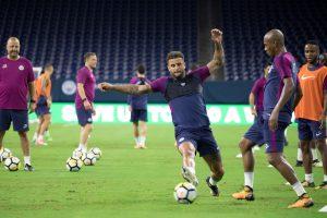 Manchester City's Kyle Walker trains.