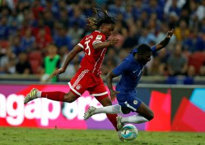 Chelsea's Jeremie Boga and Bayern Munich's Renato Sanches in action.