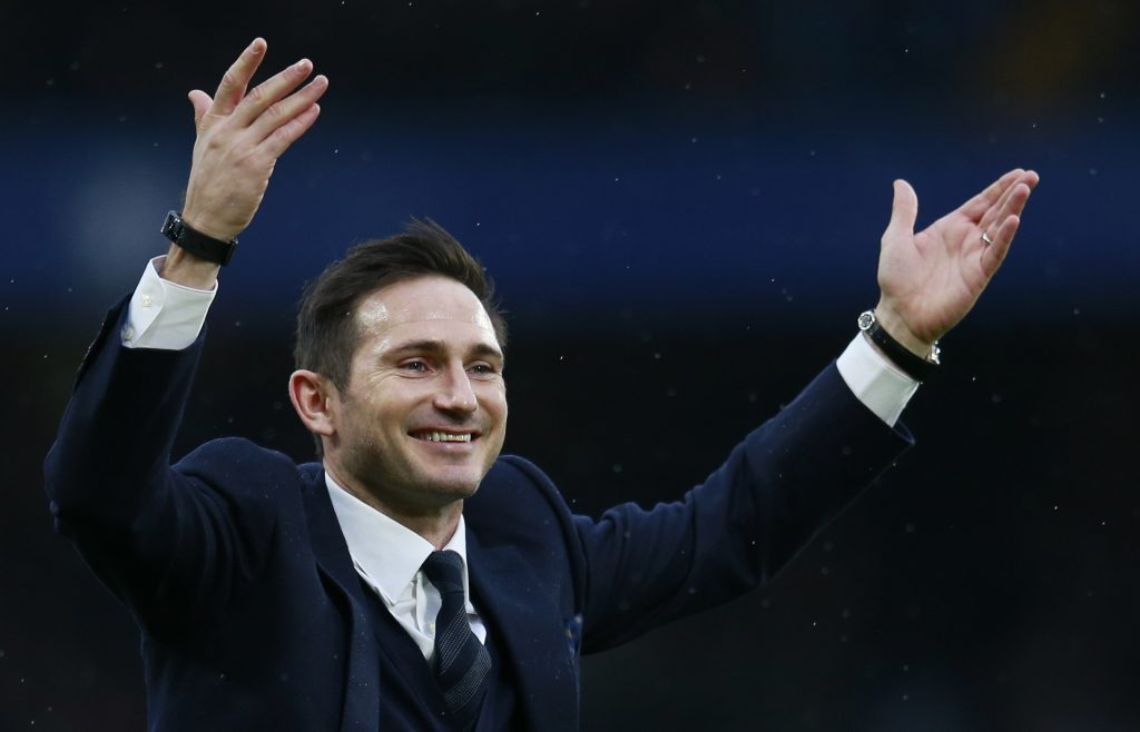 Frank Lampard is presented to fans at half time.