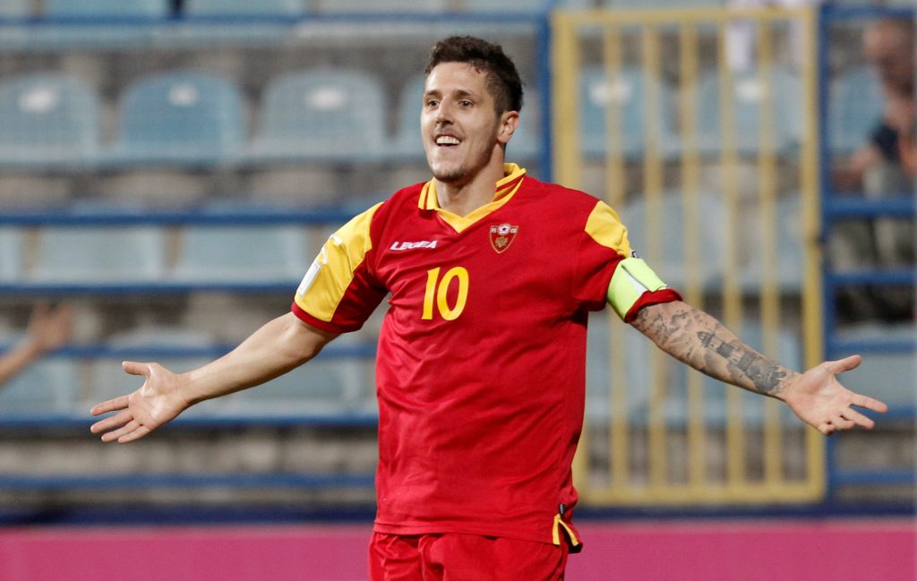 Montenegro's Stevan Jovetic celebrates.