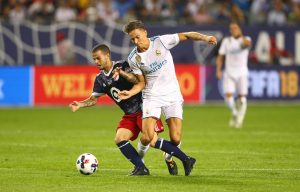 Sebastian Giovinco battles for the ball with Marcos Llorente (18) in the first half of the 2017 MLS All Star Game.