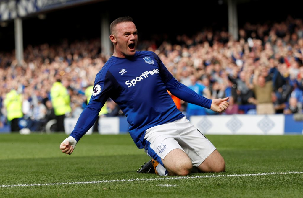 Everton's Wayne Rooney celebrates.