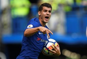 Chelsea's Alvaro Morata celebrates scoring their first goal.