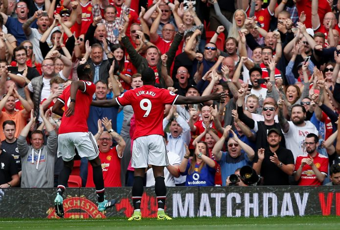 Manchester United's Romelu Lukaku celebrates scoring their second goal.
