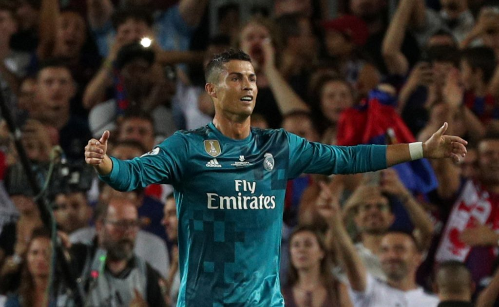 Cristiano Ronaldo walks off dejected after being sent off.