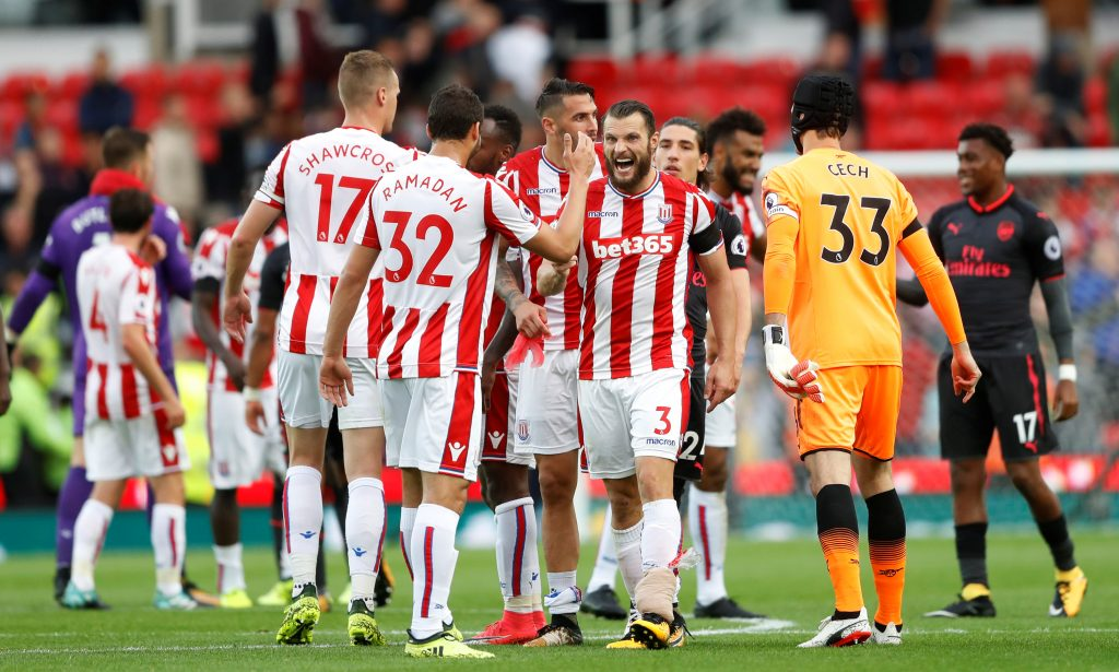 Stoke City's Erik Pieters and team mates celebrate after the match.