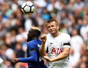 Tottenham's Eric Dier in action with Chelsea's Tiemoue Bakayoko.