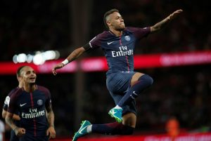 PSG's Neymar celebrates.