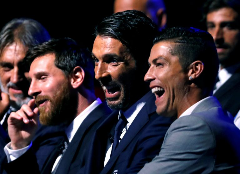 Nominees for the UEFA Men's Player of the Year award, Lionel Messi, Gianluigi Buffon and Cristiano Ronaldo.