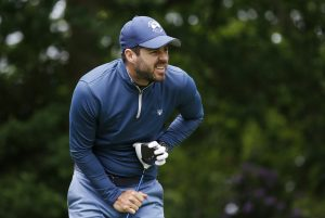 Sky Sports pundit Jamie Redknapp in action during the Pro-Am.