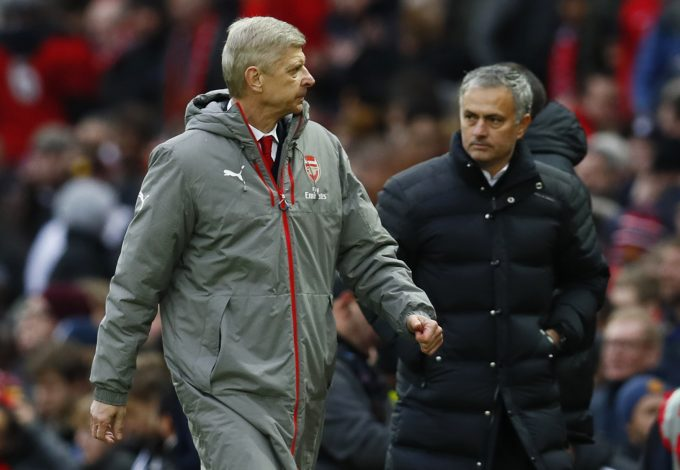 Arsene Wenger and Jose Mourinho at the end of the match.