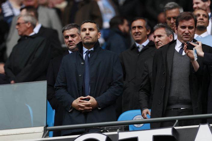Manchester City Chairman Khaldoon Al Mubarak (L) with chief executive Ferran Soriano (C) and Director of football Txiki Begiristain in the stands.
