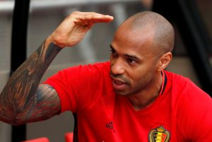 Belgium's assistant coach Thierry Henry attends a training session ahead of their friendly match against Czech Republic.
