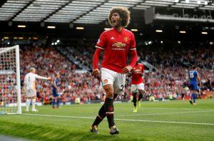Manchester United's Marouane Fellaini celebrates scoring their second goal.