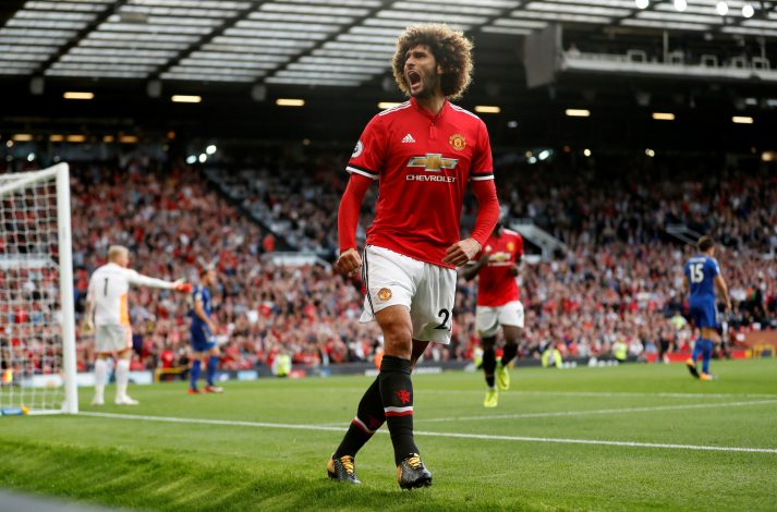 Manchester United's Marouane Fellaini celebrates scoring their second goal.