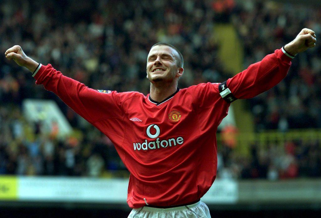 Manchester United's David Beckham celebrates.
