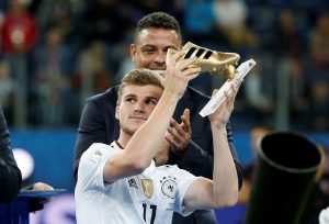 Ronaldo looks on as Germany's Timo Werner is awarded the golden boot.