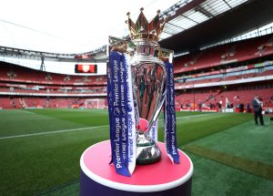 General view of the Premier League trophy before the match.