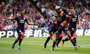 Huddersfield Town's Steve Mounie celebrates scoring their second goal.