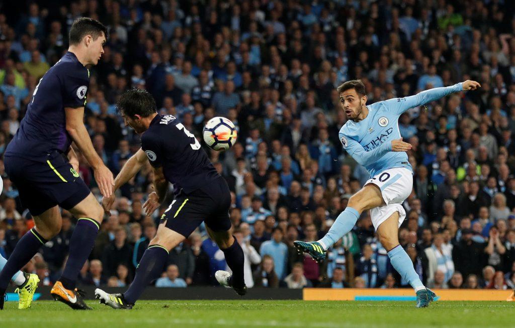 Manchester City's Bernardo Silva shoots at goal.
