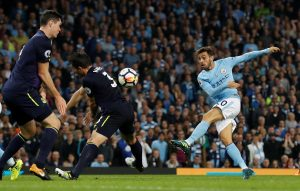 Manchester City's Bernardo Silva shoots at goal.
