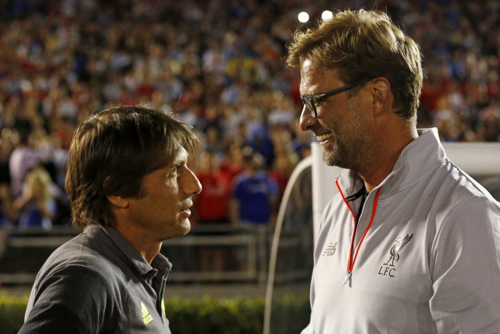 Chelsea's manager Antonio Conte with Liverpool's manager Jurgen Klopp.