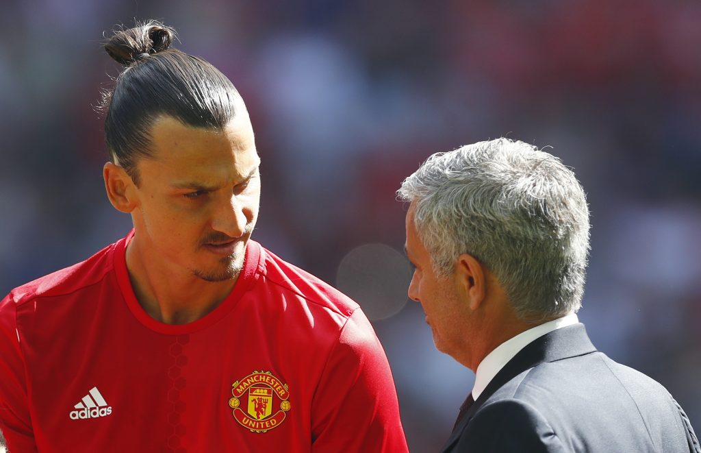Zlatan Ibrahimovic and manager Jose Mourinho before the game.