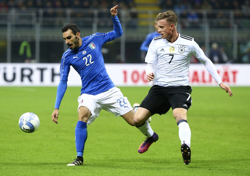 Italy's Davide Zappacosta in action against Germany's Yannick Gerhardt.