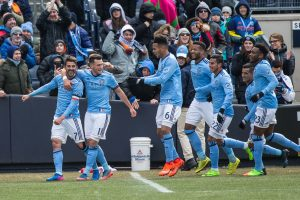New York City FC forward David Villa (7) celebrates with midfielder Jack Harrison (11).