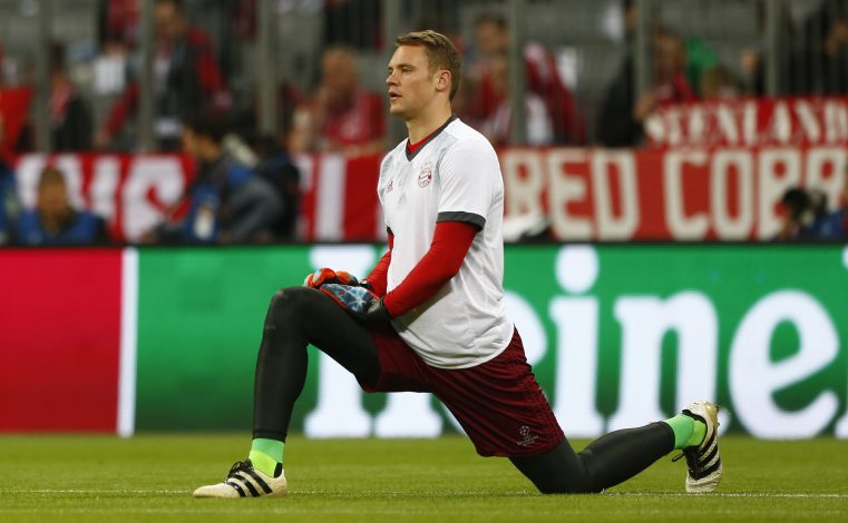 Manuel Neuer warms up before the match.